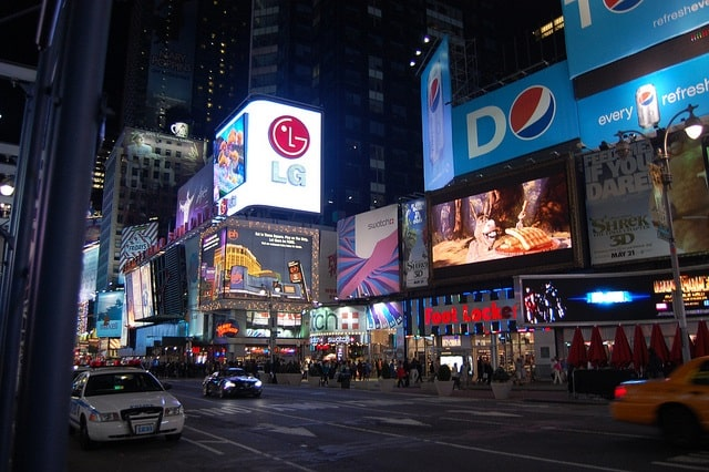 Digital advertising in Times Square